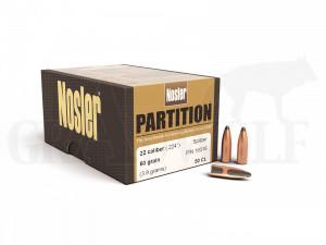 .224 / 5,6 mm 60 gr / 3,9 g Nosler Partition Geschosse 50 Stück