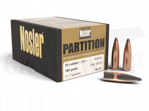 .308 / 7,62 mm 180 gr / 11,7 g Nosler Partition Geschosse 50 Stück