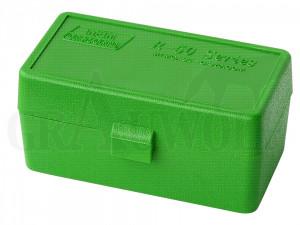 MTM Klappdeckelbox 22HORN grün für 50 Patronen: .22 Hornet, 30M1