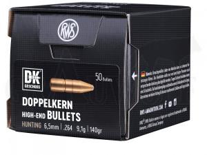 .264 / 6,5 mm 140 gr / 9,1 g RWS Doppelkern Geschosse 50 Stück