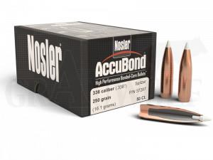 .338 / 8,5 mm 250 gr / 16,2 g Nosler AccuBond Geschosse 50 Stück