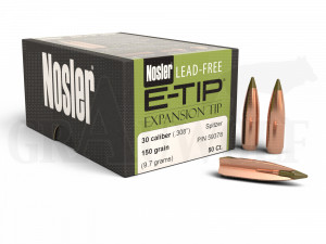 .308 / 7,62 mm 150 gr / 9,7 g Nosler E-Tip Bleifrei Geschosse 50 Stück