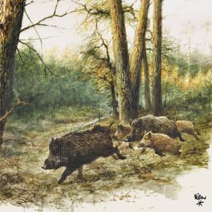 Jagdservietten Sauen