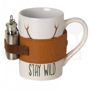 Pozellanbecher mit Flachmann Stay Wild