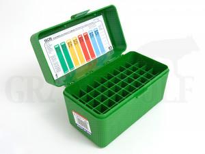 MTM Klappdeckelbox RMLD-50 grün für 50 Patronen: WSM, SAUM, 7,5 Schmidt-Rubin, 32-40