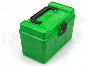 MTM Klappdeckelbox H50-R-MAG grün für 50 Patronen Deluxe mit Griff: .338 LM, Gürtelhülsen