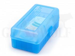 MTM Klappdeckelbox RM-50 blau für 50 Patronen: .22-250, .243 Win, .308 Win