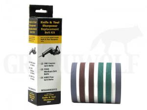 WorkSharp Schleifbänder für Messer- und Werkzeugschärfer Set je 2 Stück 220, 80, 6000 Körnung
