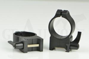 Warne Maxima Ringe für Weaver Basen 30mm Stahl mit Hebel, Hohe Ausführung, matt