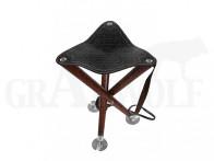 Dreibeinsitz mit Alutellern Holz Leder braun 75 cm