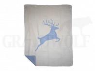Decke springender Hirsch 130 x 180 cm grau beige