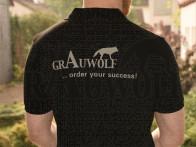 Grauwolf Polohemd Herren schwarz grauer Aufdruck XL